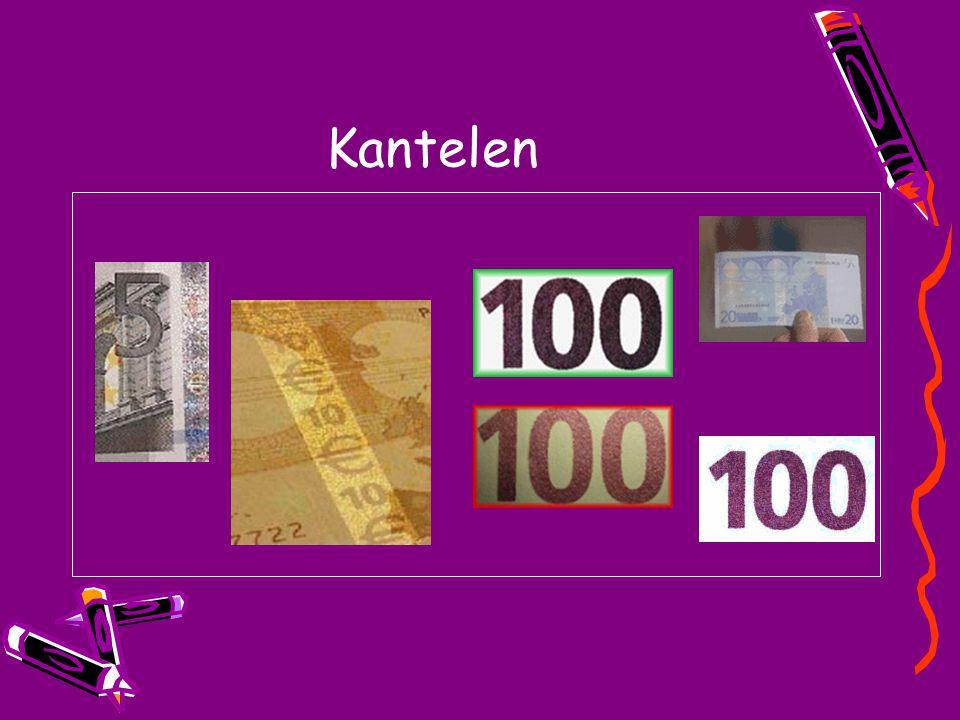 Voelen Het papier van het eurobiljet bestaat voor 100 % uit katoen.