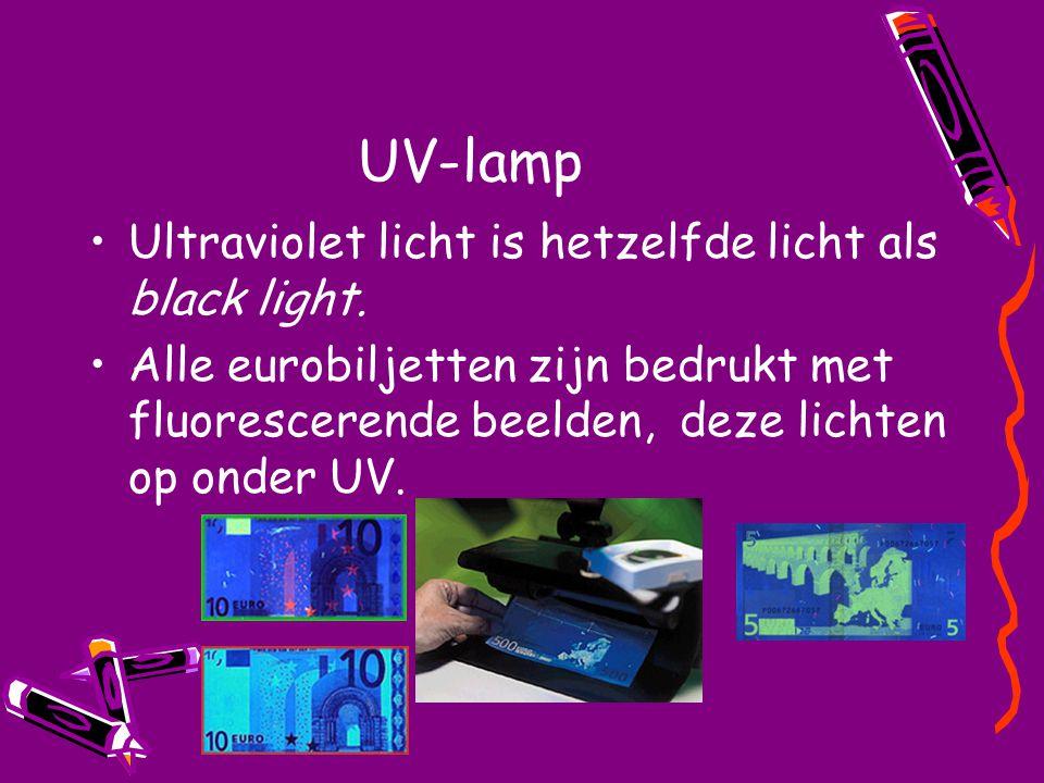 UV-lamp Ultraviolet licht is hetzelfde licht als black light. Alle eurobiljetten zijn bedrukt met fluorescerende beelden, deze lichten op onder UV.