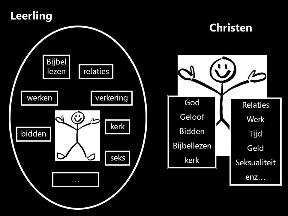 Christen God Geloof Bidden Bijbellezen kerk Relaties Werk Tijd Geld Seksualiteit enz … Leerling bidden werken Bijbel lezen relaties kerk verkering seks … Wat w í l je?