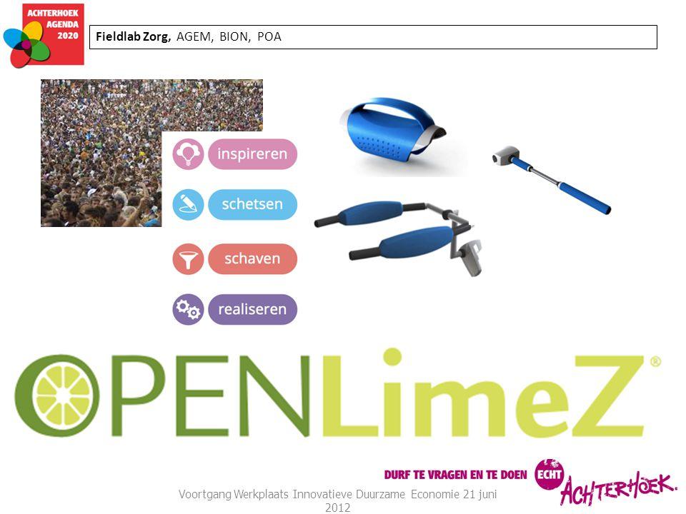 Fieldlab Zorg, AGEM, BION, POA Voortgang Werkplaats Innovatieve Duurzame Economie 21 juni 2012