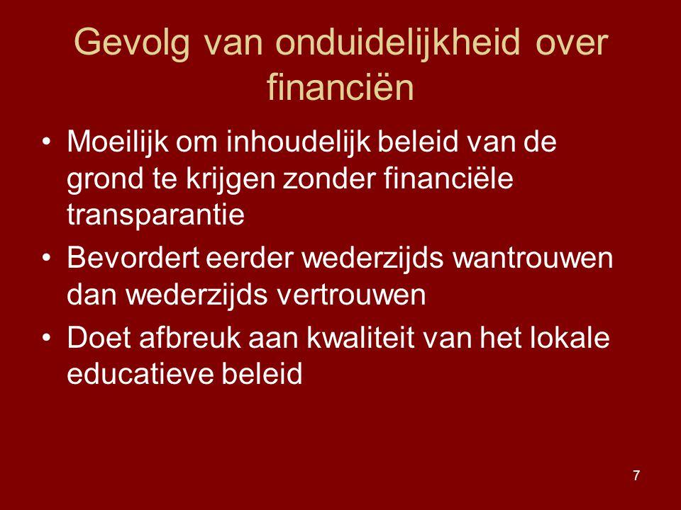 7 Gevolg van onduidelijkheid over financiën Moeilijk om inhoudelijk beleid van de grond te krijgen zonder financiële transparantie Bevordert eerder we