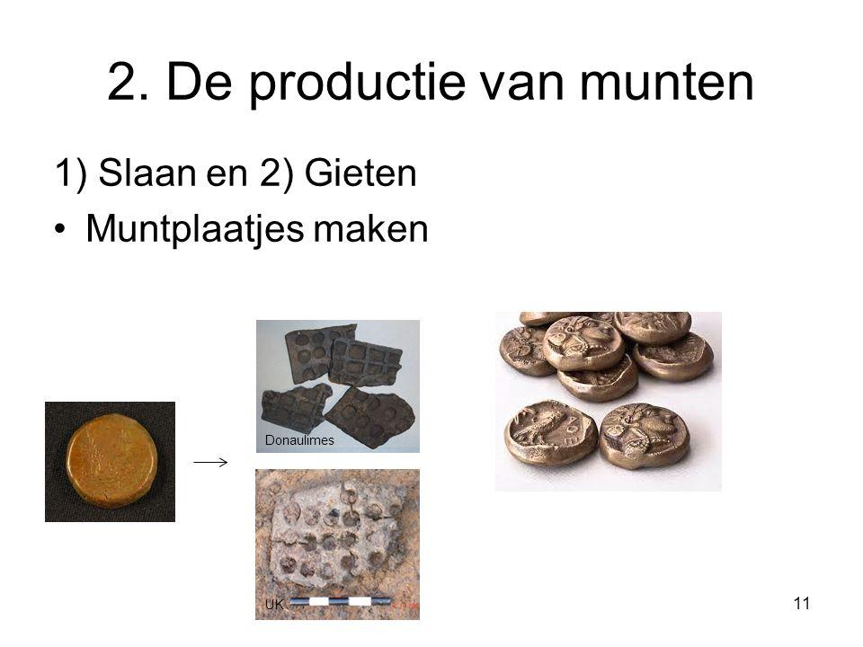 2. De productie van munten 1) Slaan en 2) Gieten Muntplaatjes maken UK Donaulimes 11