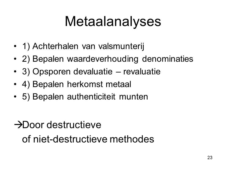 Metaalanalyses 1) Achterhalen van valsmunterij 2) Bepalen waardeverhouding denominaties 3) Opsporen devaluatie – revaluatie 4) Bepalen herkomst metaal