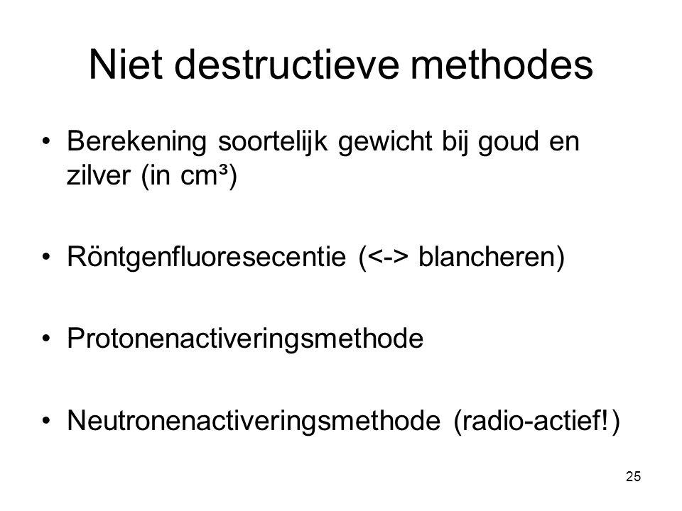 Niet destructieve methodes Berekening soortelijk gewicht bij goud en zilver (in cm³) Röntgenfluoresecentie ( blancheren) Protonenactiveringsmethode Ne