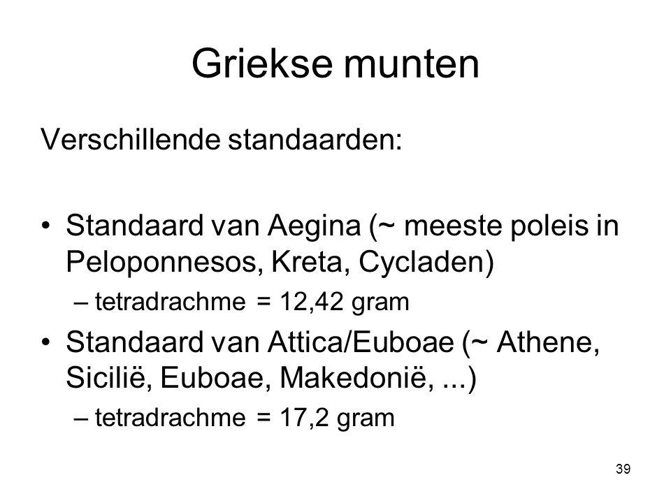 Griekse munten Verschillende standaarden: Standaard van Aegina (~ meeste poleis in Peloponnesos, Kreta, Cycladen) –tetradrachme = 12,42 gram Standaard