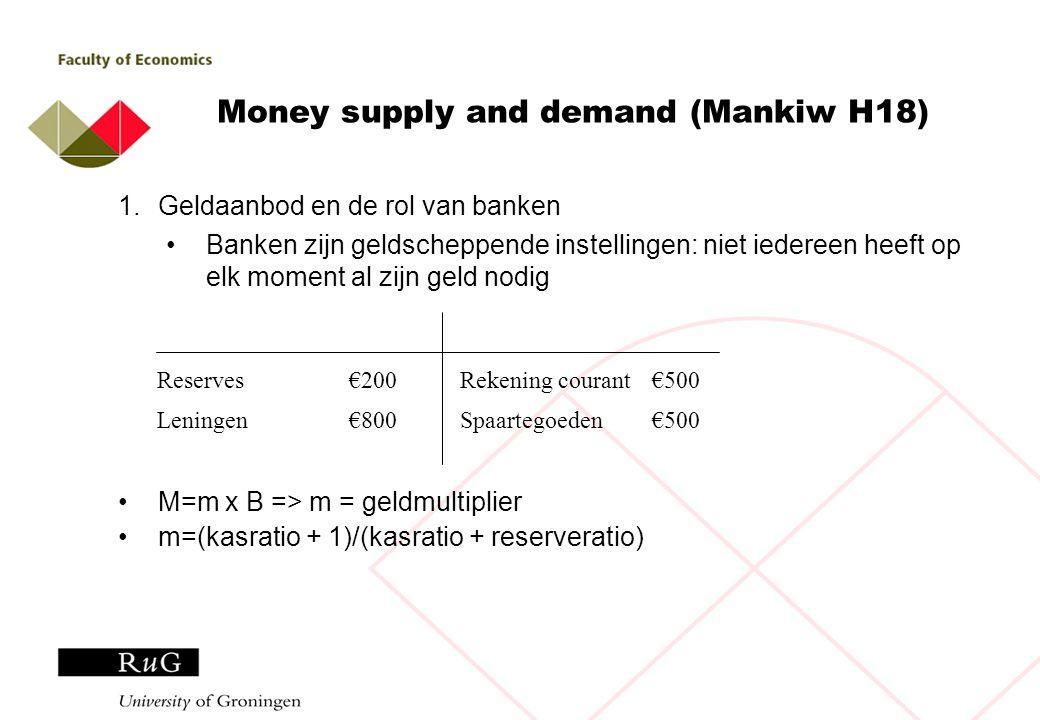 Money supply and demand (Mankiw H18) 1.Geldaanbod en de rol van banken Banken zijn geldscheppende instellingen: niet iedereen heeft op elk moment al zijn geld nodig M=m x B => m = geldmultiplier m=(kasratio + 1)/(kasratio + reserveratio) Rekening courant€500 Spaartegoeden€500 Reserves€200 Leningen€800