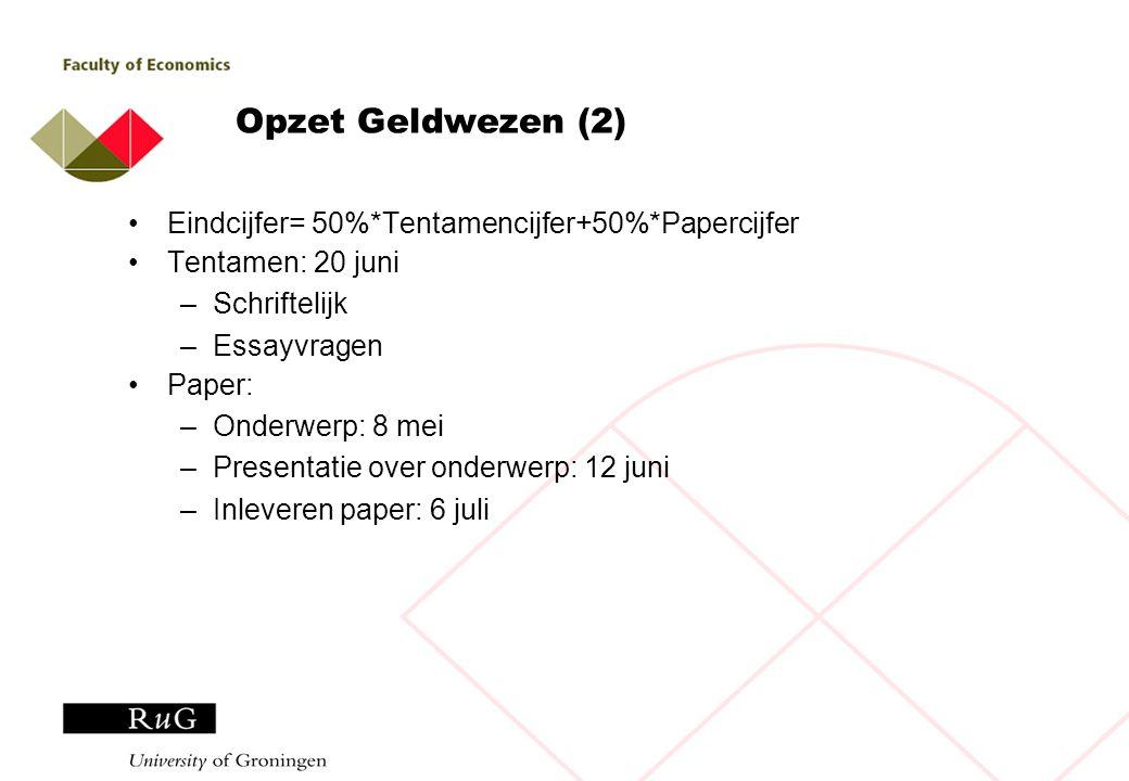Planning Bijeenkomsten: 17 april: Mankiw H4, H18 8 mei: Van Ewijk & Scholtens, H2, H3 & voorstellen papers 22 mei: Van Ewijk & Scholtens, H6, H8 29 mei: Van Ewijk & Scholtens, H7, H10 12 juni: Presentaties 20 juni: Tentamen 6 juli: Inleveren paper