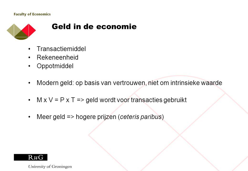 Inflatie, rente & de kosten van geld Geld imperfect oppotmiddel => inflatie vermindert koopkracht Spaarrekening compenseert: i=r+  (of verwachte inflatie) Wat zijn de kosten van inflatie.