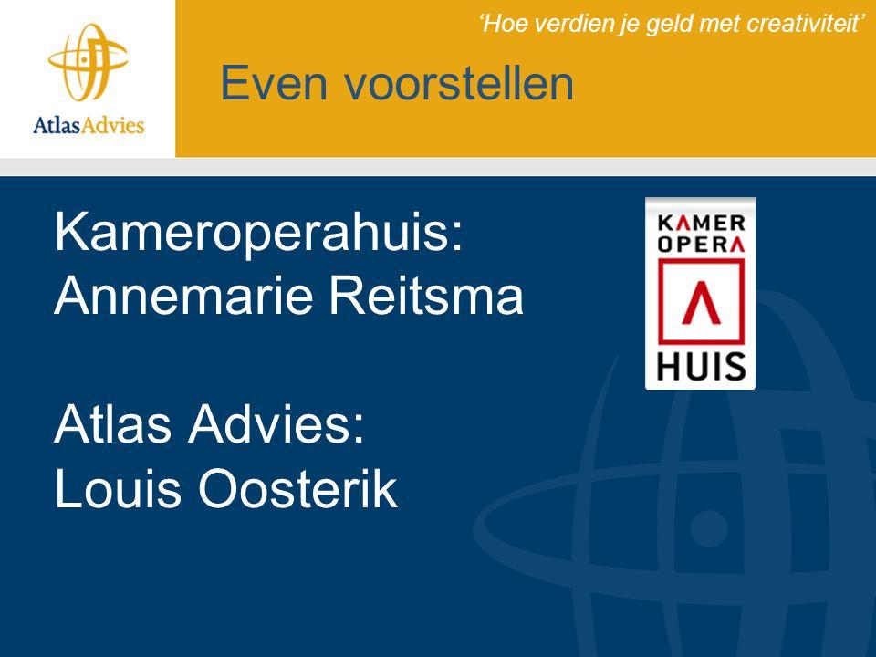 Dienstverlening Atlas Advies 15 medewerkers (12 adviseurs) Vestiging in Almelo Landelijke dekking INK-managementmodel ISO 9001:2008 gecertificeerd Dienstverlening: –Beleidsadvies –Subsidiebegeleiding –Projectmanagement 'Hoe verdien je geld met creativiteit'