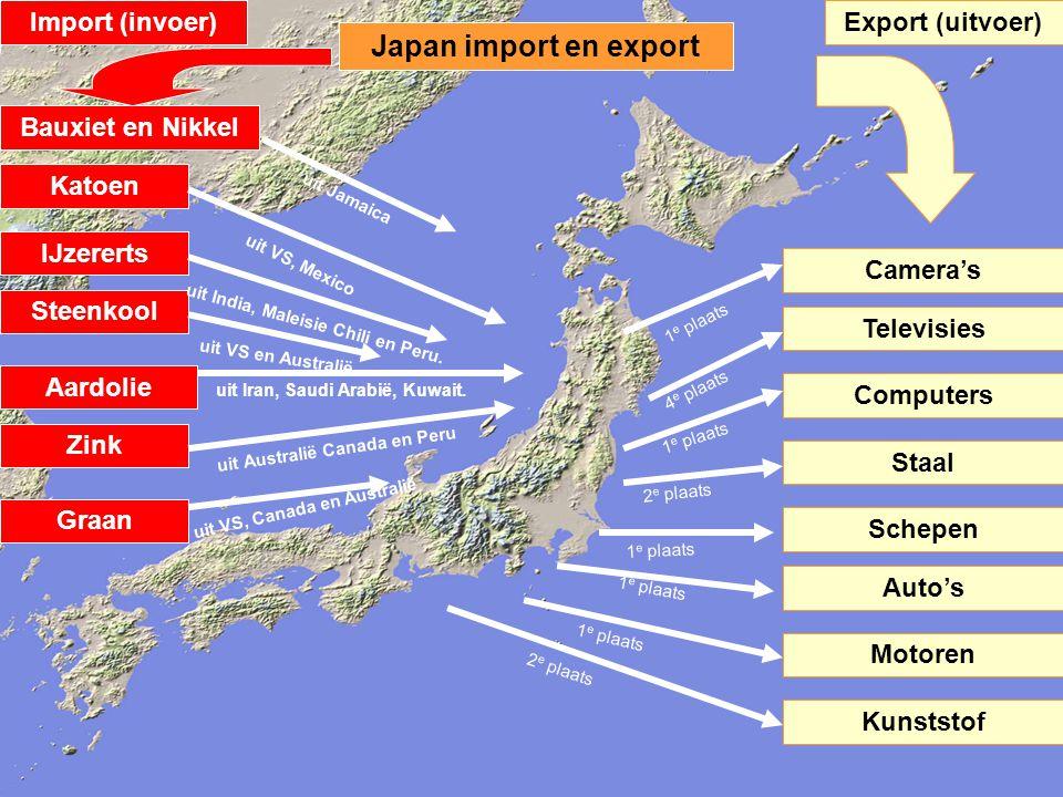 Japan import en export Katoen Zink Bauxiet en Nikkel Aardolie Steenkool IJzererts Graan uit VS, Mexico uit Jamaica uit VS en Australië uit VS, Canada