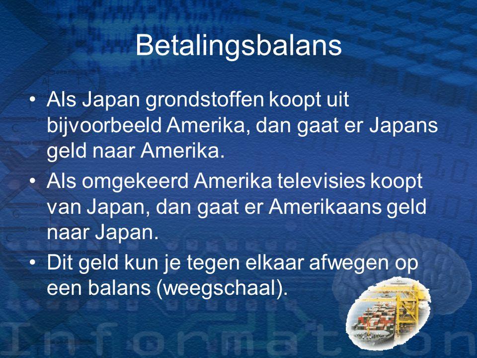 Betalingsbalans Als Japan grondstoffen koopt uit bijvoorbeeld Amerika, dan gaat er Japans geld naar Amerika. Als omgekeerd Amerika televisies koopt va
