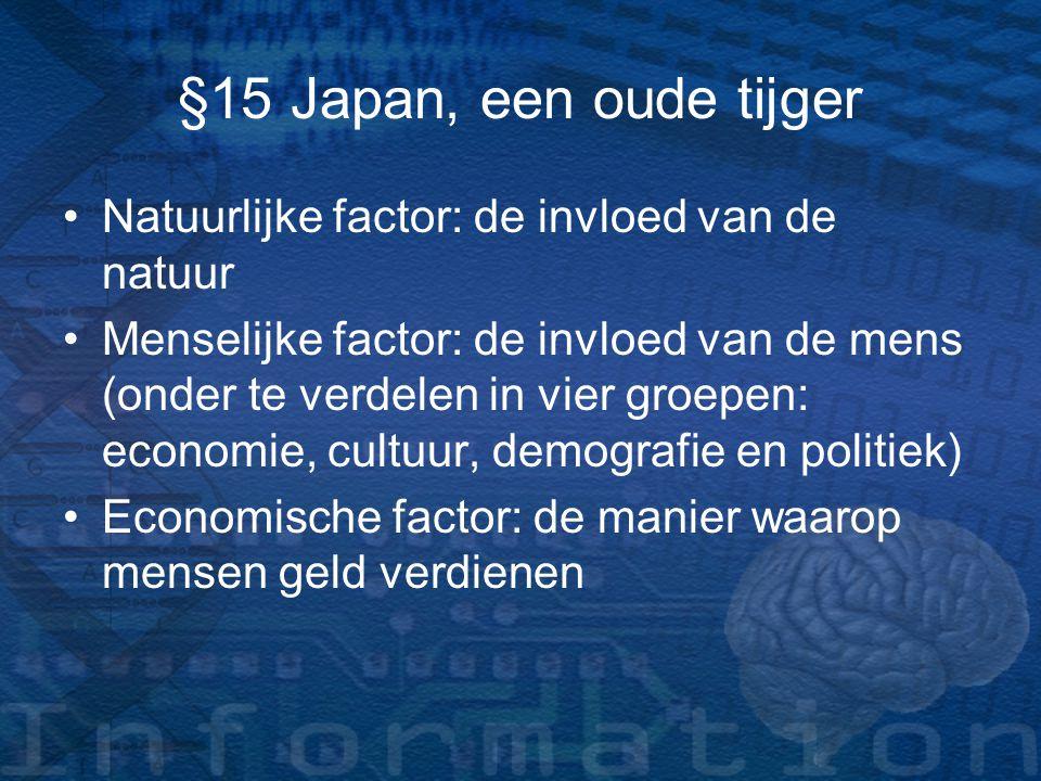 §15 Japan, een oude tijger Natuurlijke factor: de invloed van de natuur Menselijke factor: de invloed van de mens (onder te verdelen in vier groepen: