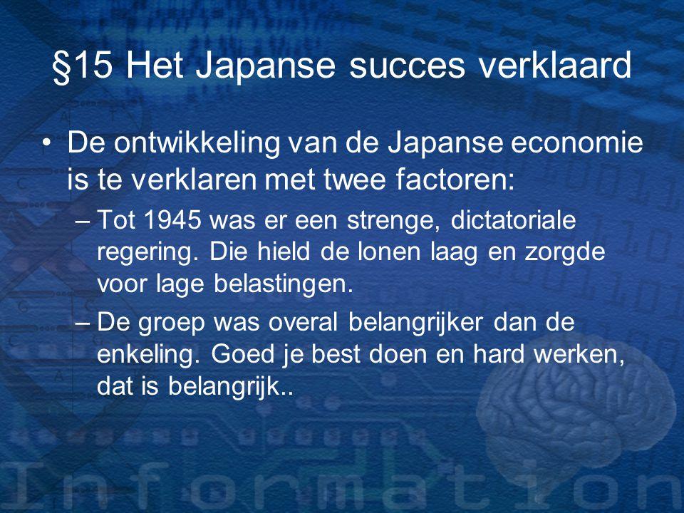 §15 Het Japanse succes verklaard De ontwikkeling van de Japanse economie is te verklaren met twee factoren: –T–Tot 1945 was er een strenge, dictatoria