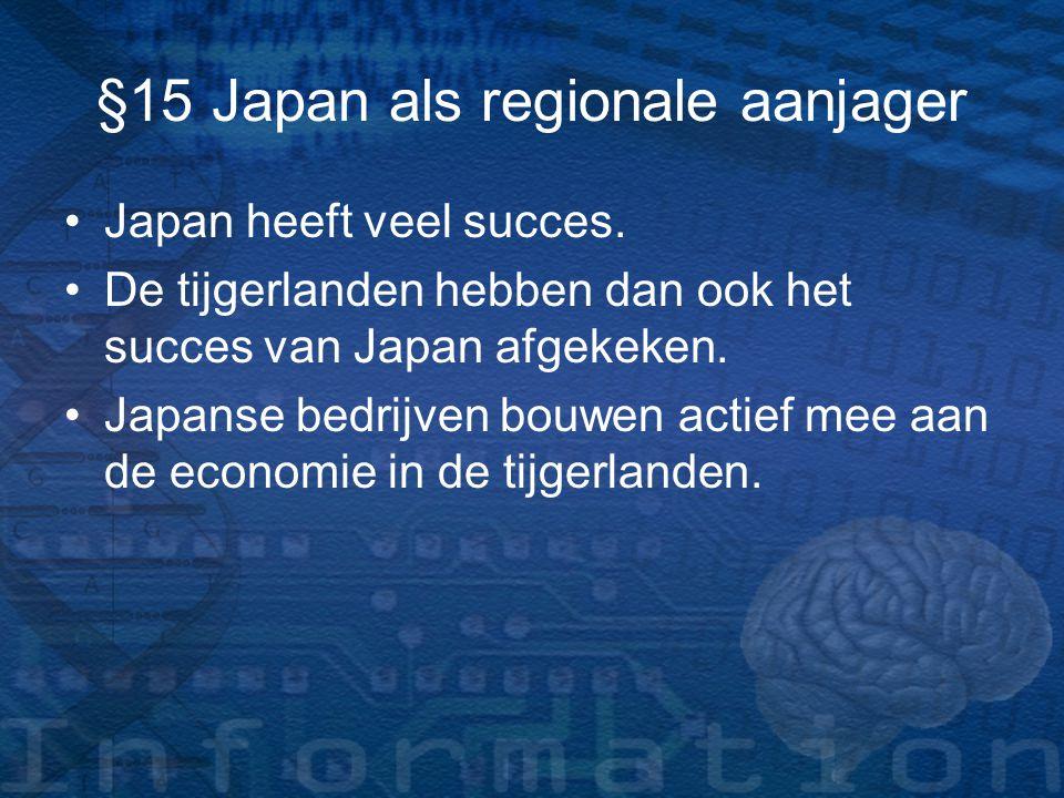 §15 Japan als regionale aanjager Japan heeft veel succes. De tijgerlanden hebben dan ook het succes van Japan afgekeken. Japanse bedrijven bouwen acti