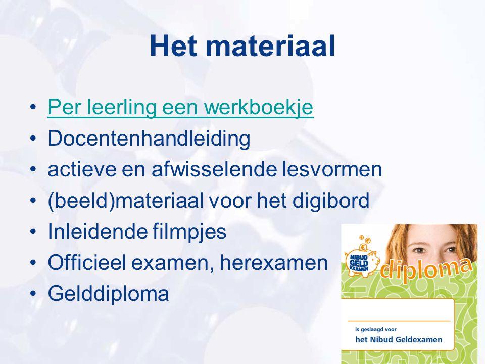 Het materiaal Per leerling een werkboekje Docentenhandleiding actieve en afwisselende lesvormen (beeld)materiaal voor het digibord Inleidende filmpjes
