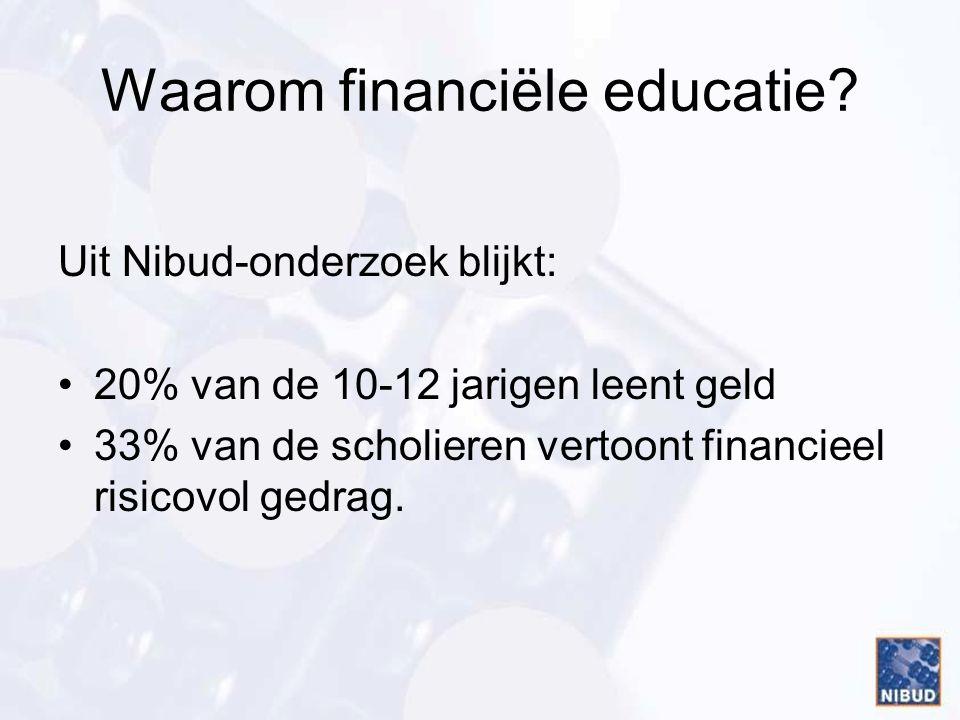 Waarom financiële educatie? Uit Nibud-onderzoek blijkt: 20% van de 10-12 jarigen leent geld 33% van de scholieren vertoont financieel risicovol gedrag