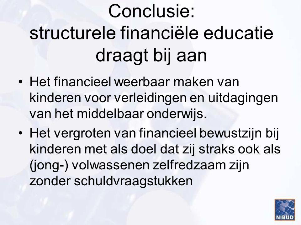 Conclusie: structurele financiële educatie draagt bij aan Het financieel weerbaar maken van kinderen voor verleidingen en uitdagingen van het middelba