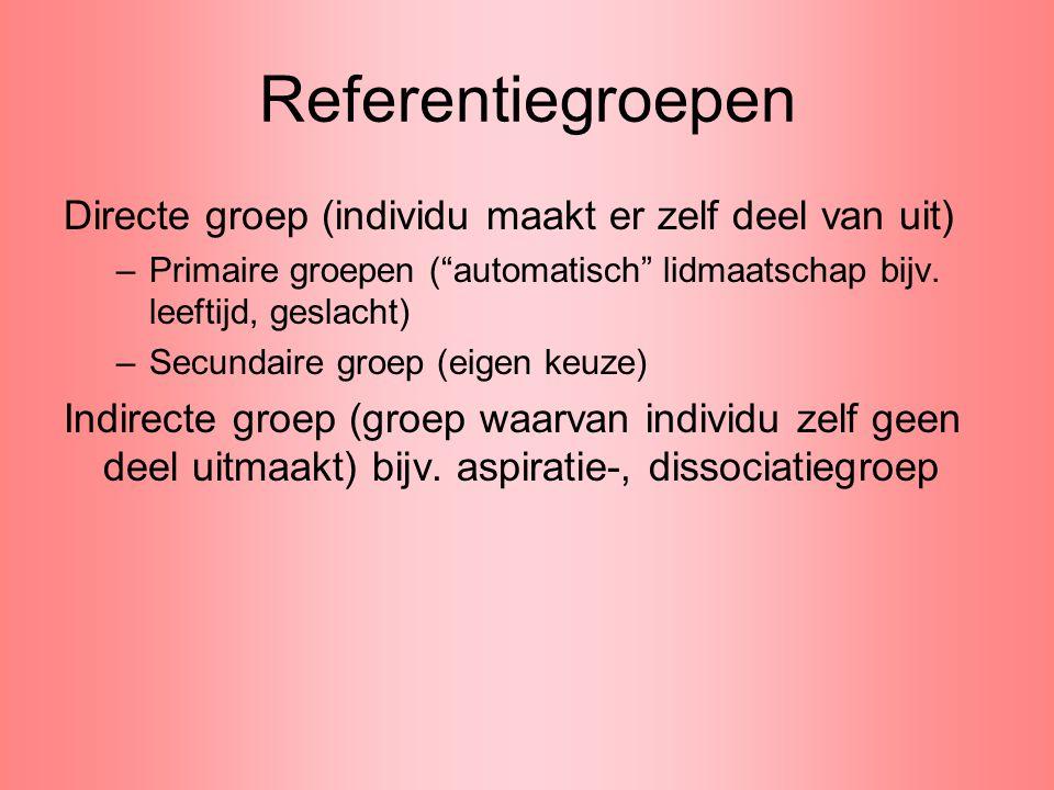 """Referentiegroepen Directe groep (individu maakt er zelf deel van uit) –Primaire groepen (""""automatisch"""" lidmaatschap bijv. leeftijd, geslacht) –Secunda"""