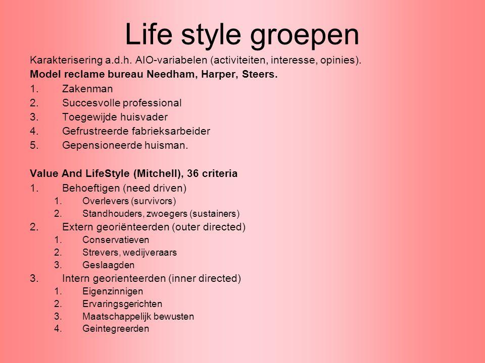 Life style groepen Karakterisering a.d.h. AIO-variabelen (activiteiten, interesse, opinies). Model reclame bureau Needham, Harper, Steers. 1.Zakenman