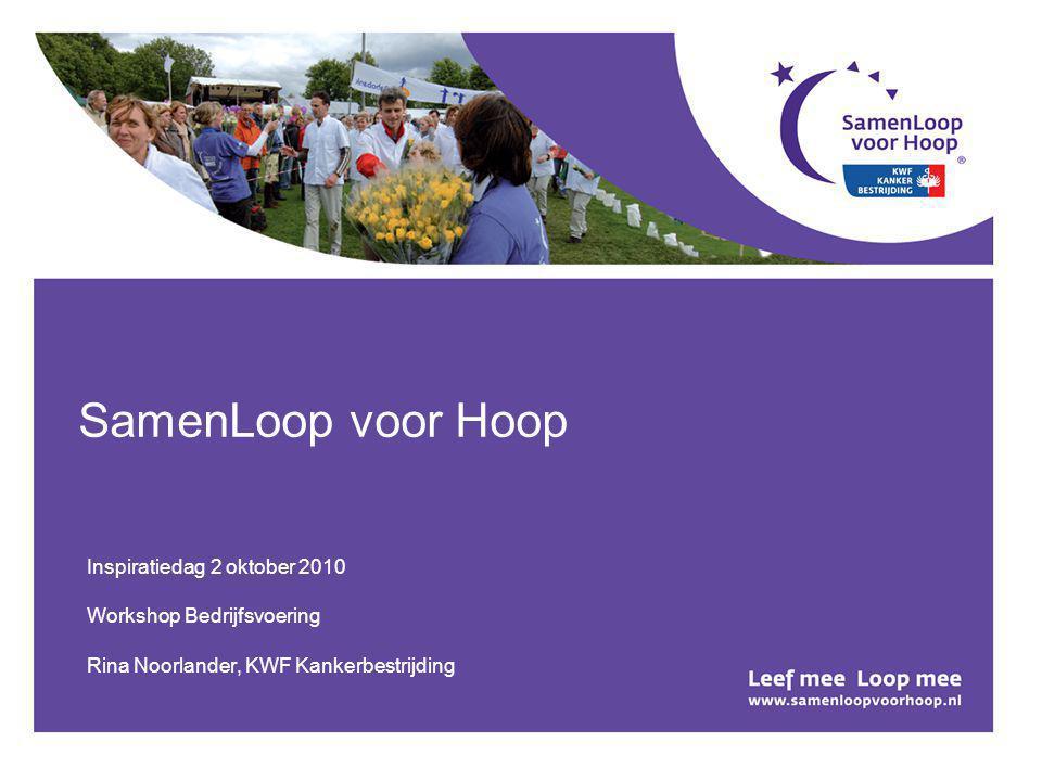 SamenLoop voor Hoop Inspiratiedag 2 oktober 2010 Workshop Bedrijfsvoering Rina Noorlander, KWF Kankerbestrijding