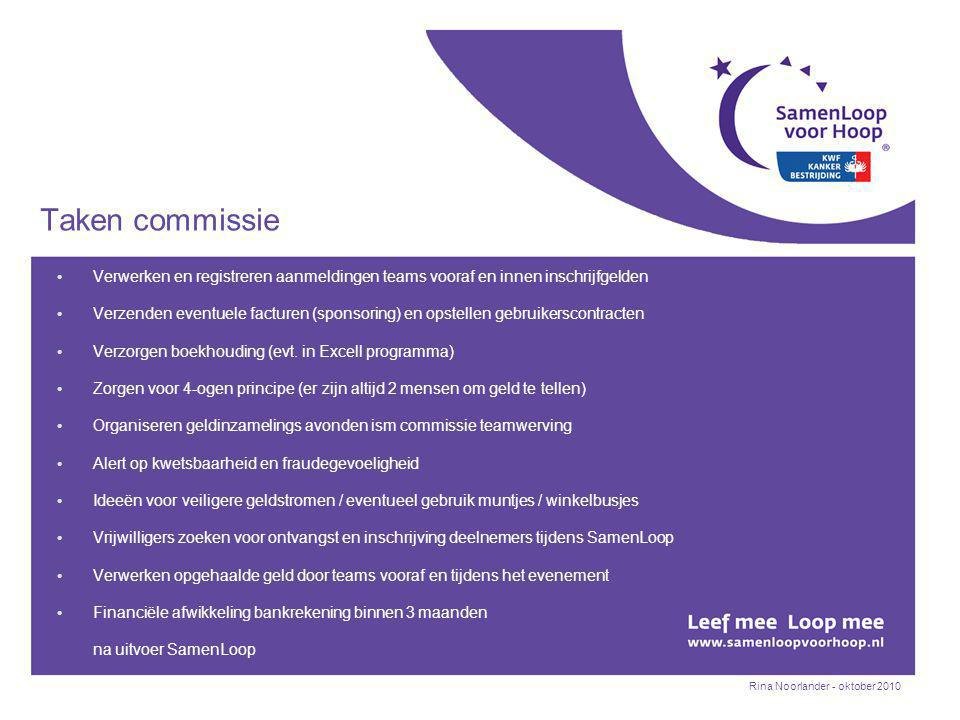Rina Noorlander - oktober 2010 Taken commissie Verwerken en registreren aanmeldingen teams vooraf en innen inschrijfgelden Verzenden eventuele facturen (sponsoring) en opstellen gebruikerscontracten Verzorgen boekhouding (evt.