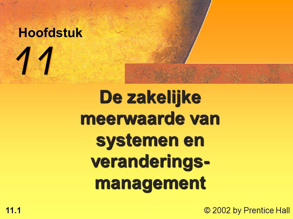 11.1 © 2002 by Prentice Hall Hoofdstuk 11 De zakelijke meerwaarde van systemen en veranderings- management