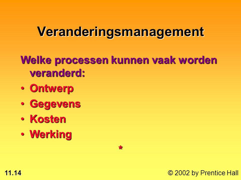 11.14 © 2002 by Prentice Hall Veranderingsmanagement Welke processen kunnen vaak worden veranderd: OntwerpOntwerp GegevensGegevens KostenKosten Werkin