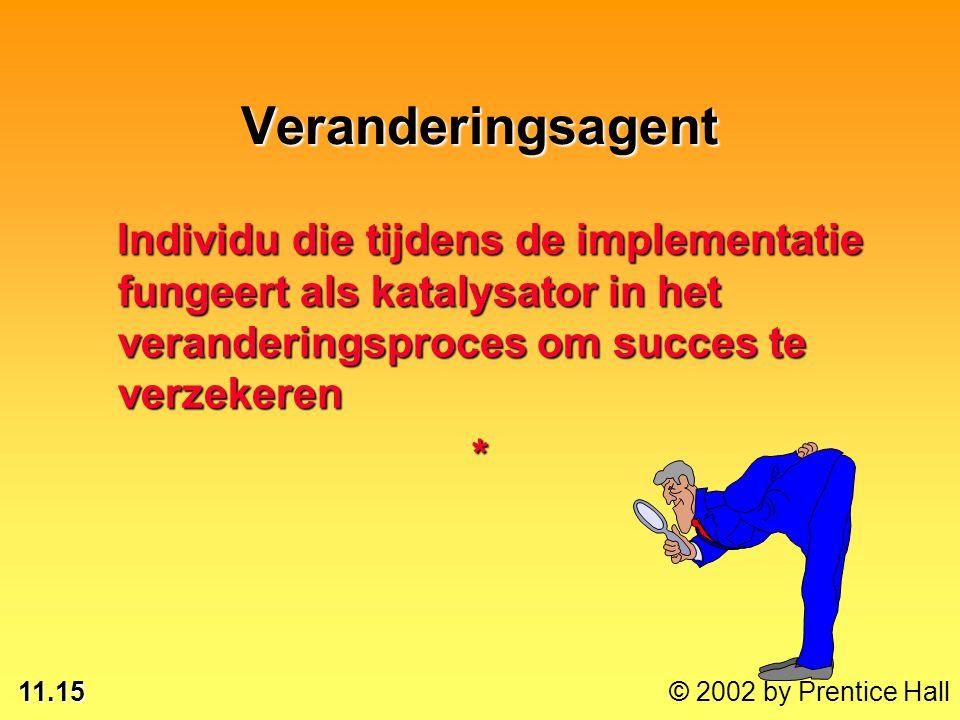 11.15 © 2002 by Prentice Hall Veranderingsagent Individu die tijdens de implementatie fungeert als katalysator in het veranderingsproces om succes te