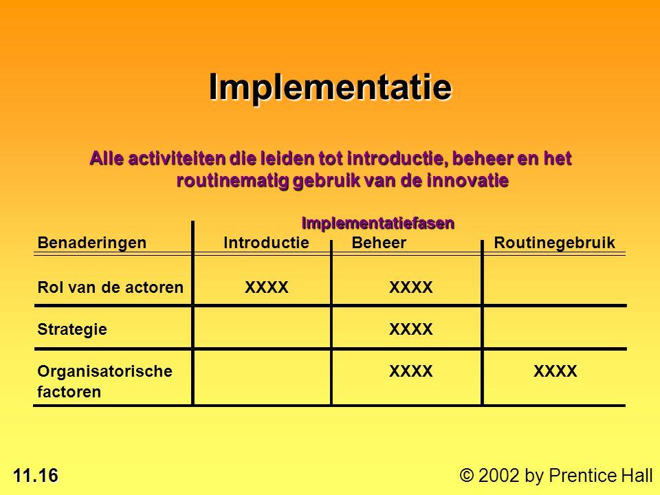 11.16 © 2002 by Prentice Hall BenaderingenIntroductieBeheer Routinegebruik Rol van de actorenXXXX StrategieXXXX OrganisatorischeXXXX factorenImplement