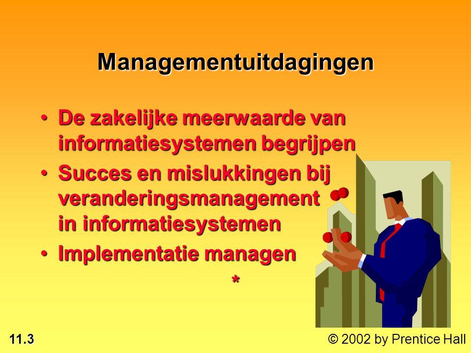 11.3 Managementuitdagingen De zakelijke meerwaarde van informatiesystemen begrijpenDe zakelijke meerwaarde van informatiesystemen begrijpen Succes en