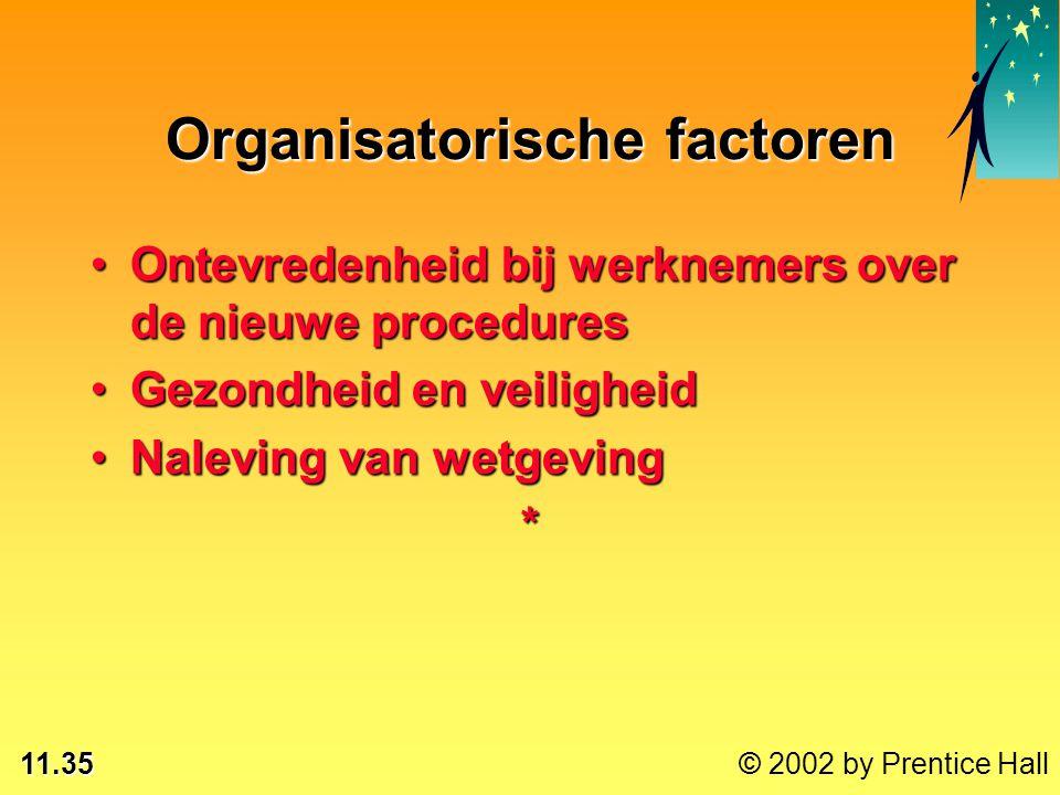 11.35 © 2002 by Prentice Hall Organisatorische factoren Ontevredenheid bij werknemers over de nieuwe proceduresOntevredenheid bij werknemers over de n