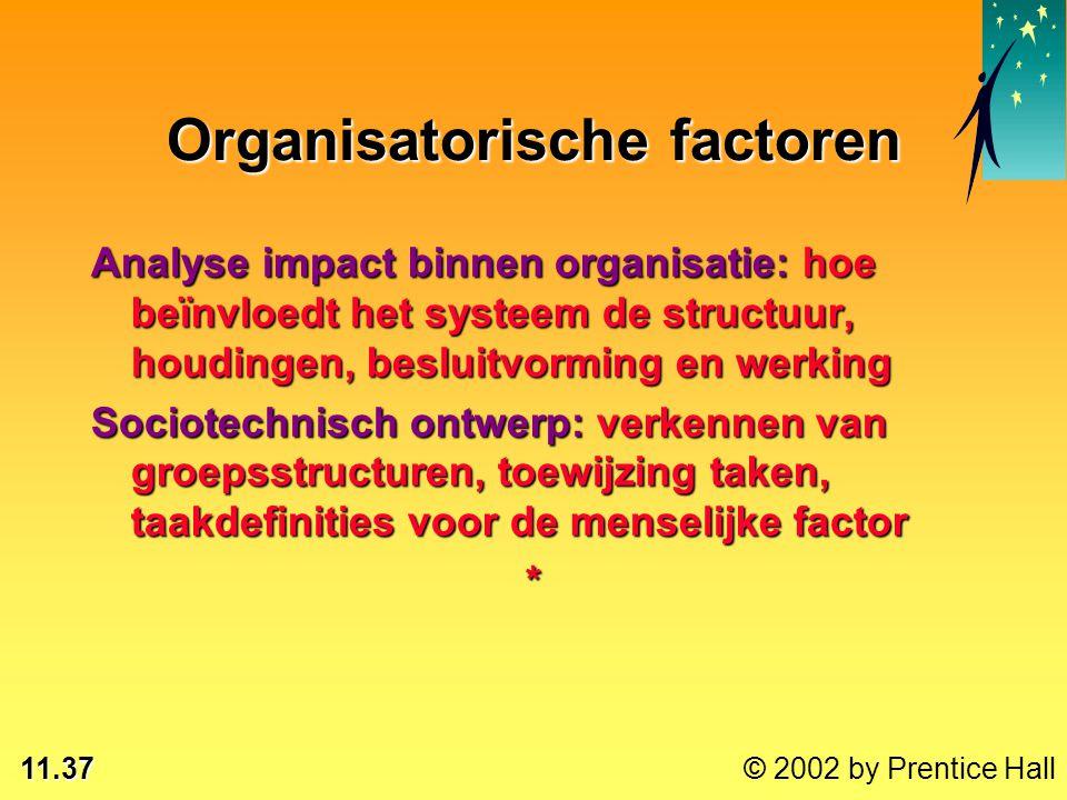 11.37 © 2002 by Prentice Hall Analyse impact binnen organisatie: hoe beïnvloedt het systeem de structuur, houdingen, besluitvorming en werking Sociote