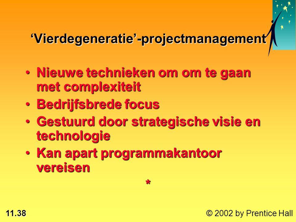 11.38 © 2002 by Prentice Hall 'Vierdegeneratie'-projectmanagement Nieuwe technieken om om te gaan met complexiteitNieuwe technieken om om te gaan met