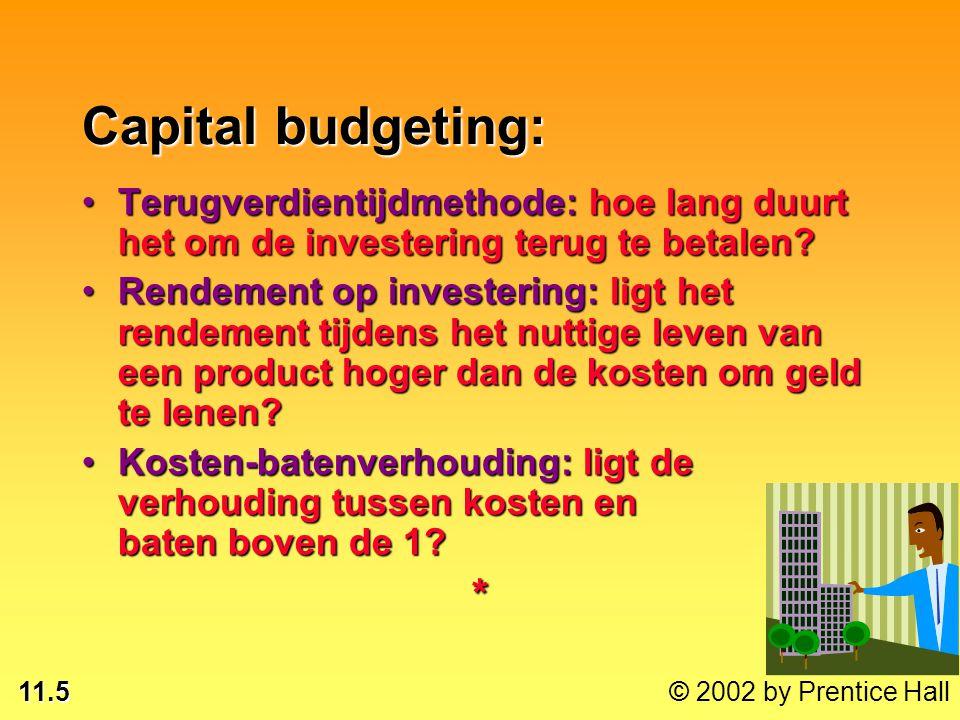 11.5 © 2002 by Prentice Hall Capital budgeting: Terugverdientijdmethode: hoe lang duurt het om de investering terug te betalen?Terugverdientijdmethode