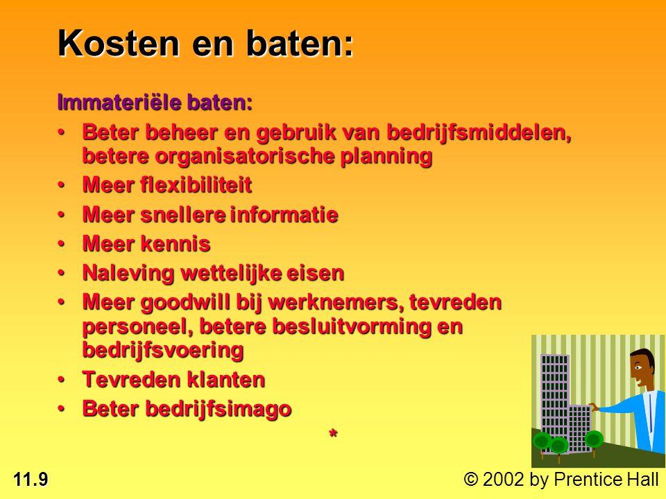 11.9 © 2002 by Prentice Hall Immateriële baten: Beter beheer en gebruik van bedrijfsmiddelen, betere organisatorische planningBeter beheer en gebruik
