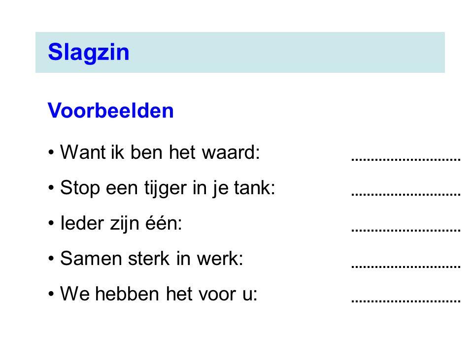Want ik ben het waard: Stop een tijger in je tank: Ieder zijn één: Samen sterk in werk: We hebben het voor u: Voorbeelden Slagzin