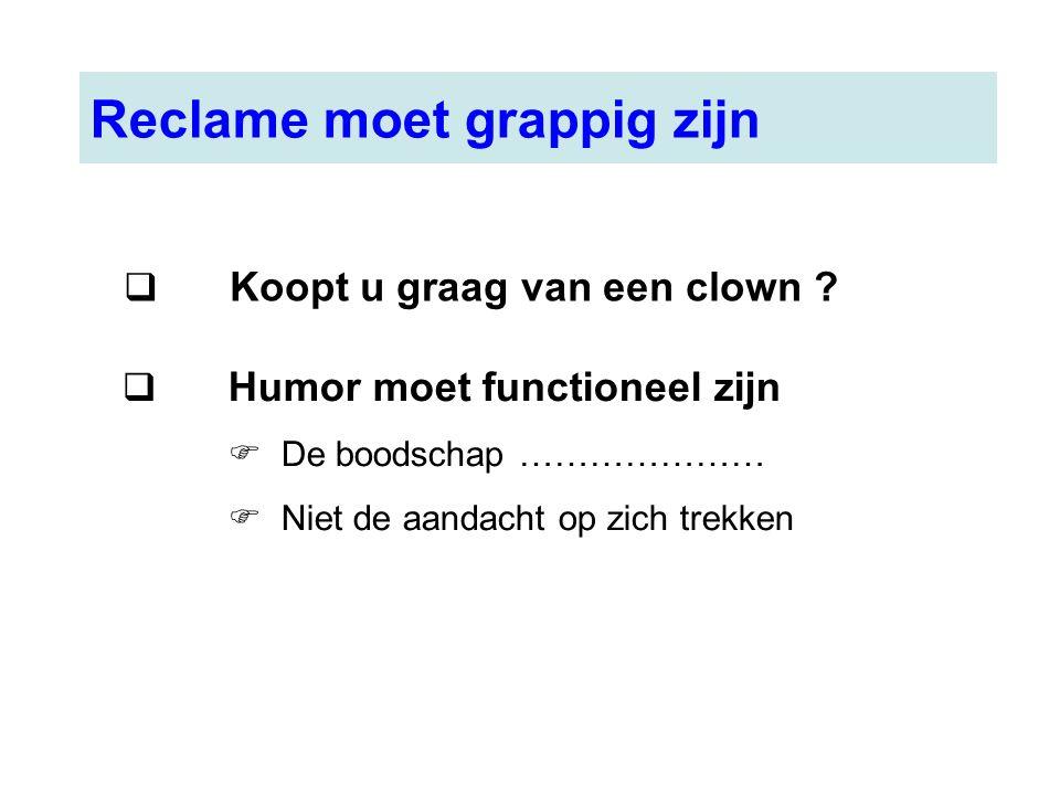 Reclame moet grappig zijn  Koopt u graag van een clown ?  Humor moet functioneel zijn  De boodschap …………………  Niet de aandacht op zich trekken