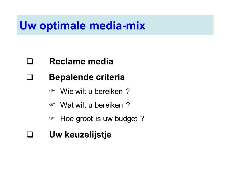 Uw optimale media-mix  Reclame media  Bepalende criteria  Wie wilt u bereiken ?  Wat wilt u bereiken ?  Hoe groot is uw budget ?  Uw keuzelijstj