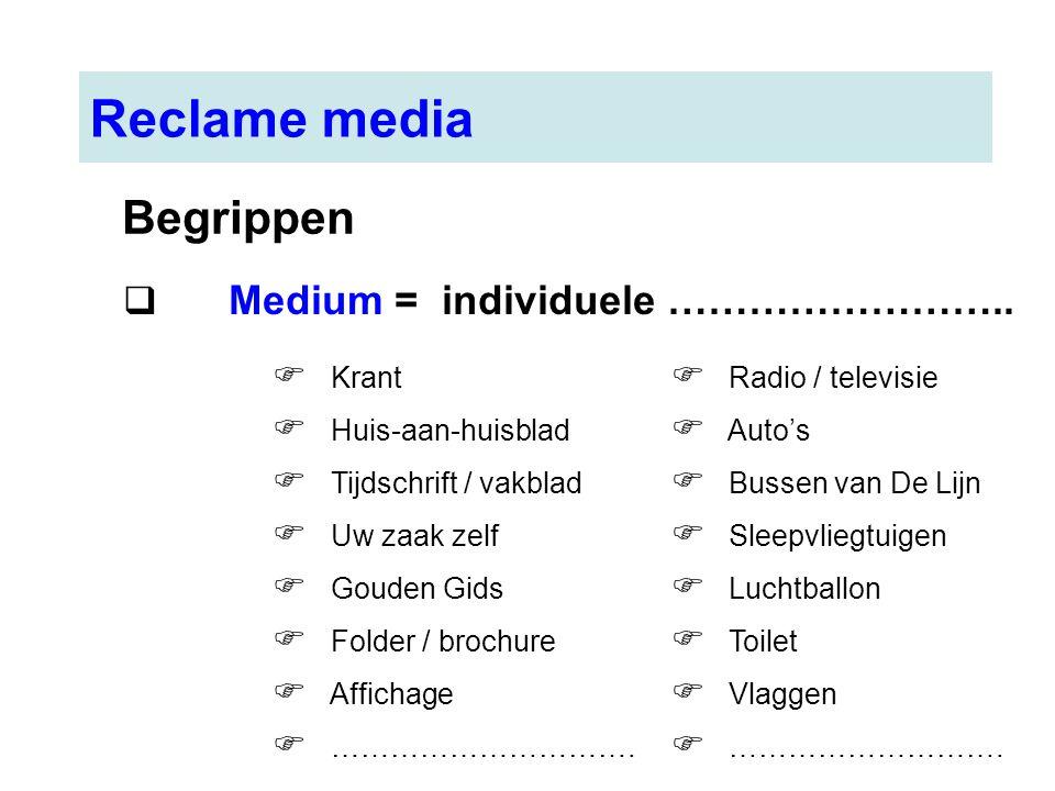 Reclame media  Medium = individuele ……………………..  Krant  Huis-aan-huisblad  Tijdschrift / vakblad  Uw zaak zelf  Gouden Gids  Folder / brochure 
