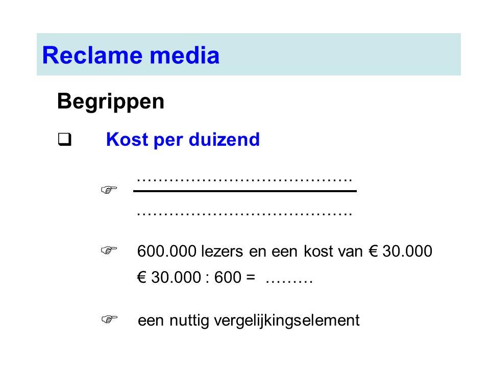 Reclame media Begrippen  Kost per duizend ………………………………….  600.000 lezers en een kost van € 30.000  € 30.000 : 600 = ……… een nuttig vergelijkingsele