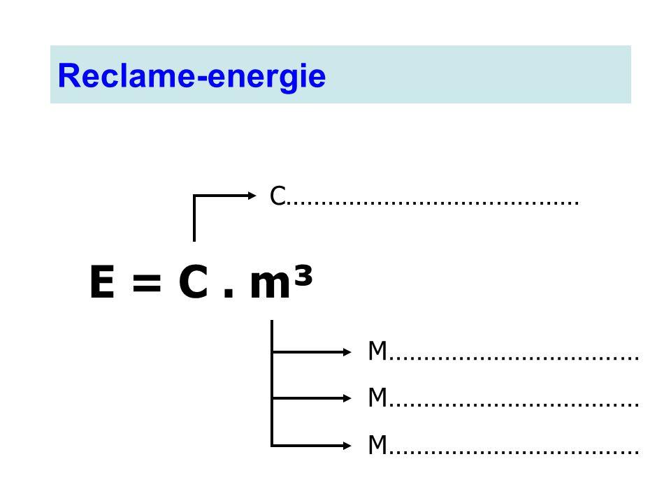 E = C. m³ C…………………………………… M……………………………… Reclame-energie