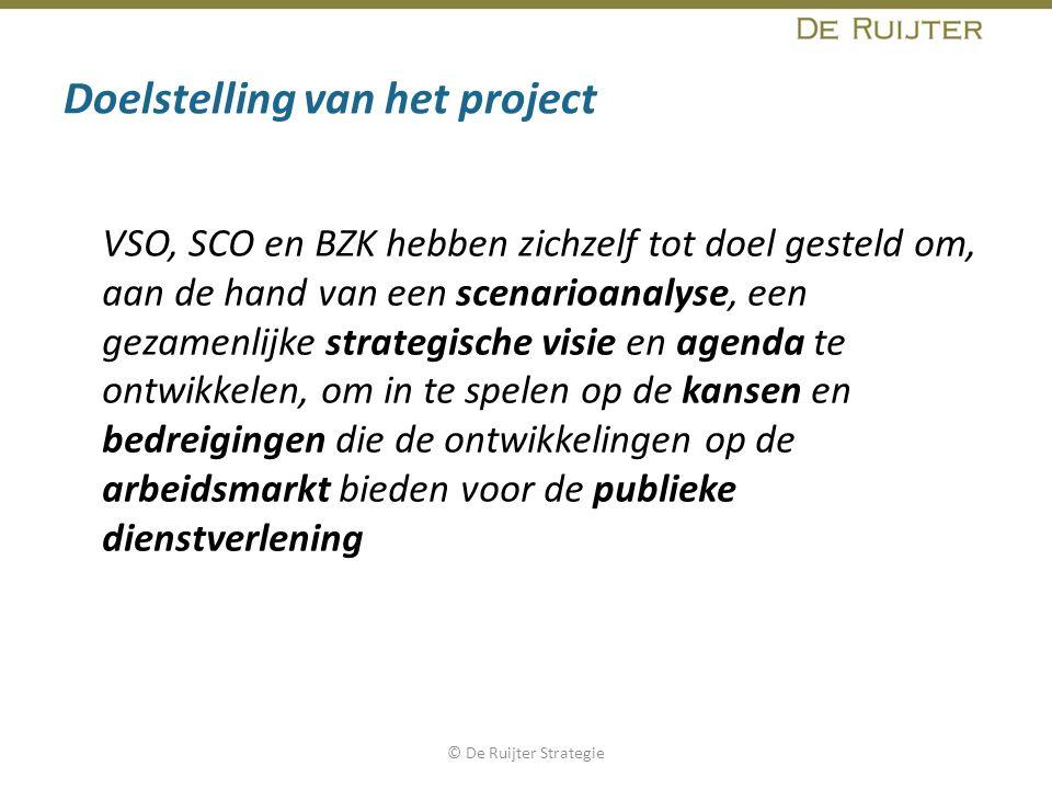 Doelstelling van het project VSO, SCO en BZK hebben zichzelf tot doel gesteld om, aan de hand van een scenarioanalyse, een gezamenlijke strategische v