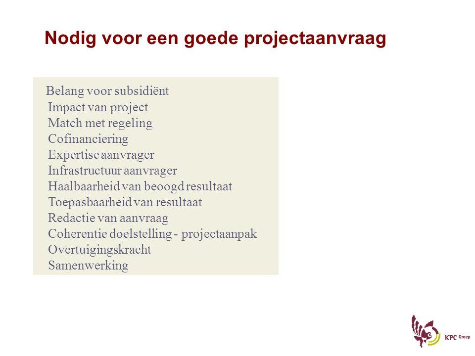 Nodig voor een goede projectaanvraag Belang voor subsidiënt Impact van project Match met regeling Cofinanciering Expertise aanvrager Infrastructuur aa