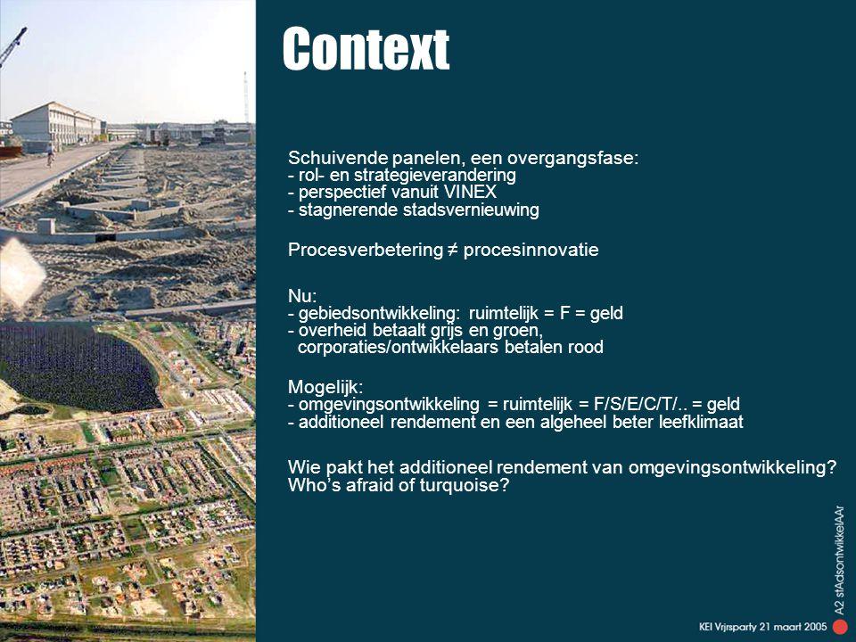 Context Schuivende panelen, een overgangsfase: - rol- en strategieverandering - perspectief vanuit VINEX - stagnerende stadsvernieuwing Procesverbetering ≠ procesinnovatie Nu: - gebiedsontwikkeling: ruimtelijk = F = geld - overheid betaalt grijs en groen, corporaties/ontwikkelaars betalen rood Mogelijk: - omgevingsontwikkeling = ruimtelijk = F/S/E/C/T/..