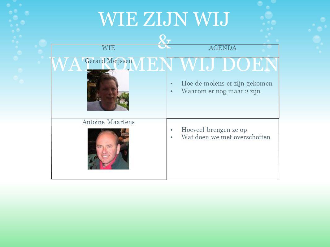 WIE ZIJN WIJ & WAT KOMEN WIJ DOEN WIEAGENDA Gerard Meijssen Hoe de molens er zijn gekomen Waarom er nog maar 2 zijn Antoine Maartens Hoeveel brengen z