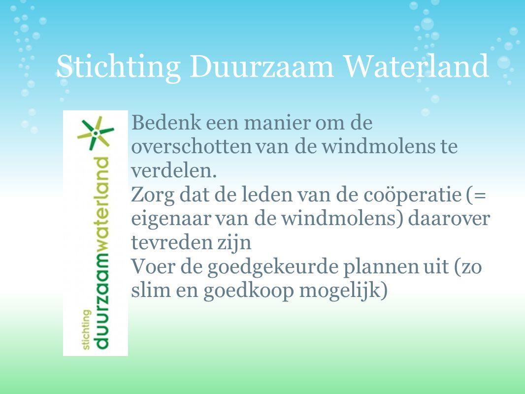 Stichting Duurzaam Waterland Bedenk een manier om de overschotten van de windmolens te verdelen. Zorg dat de leden van de coöperatie (= eigenaar van d