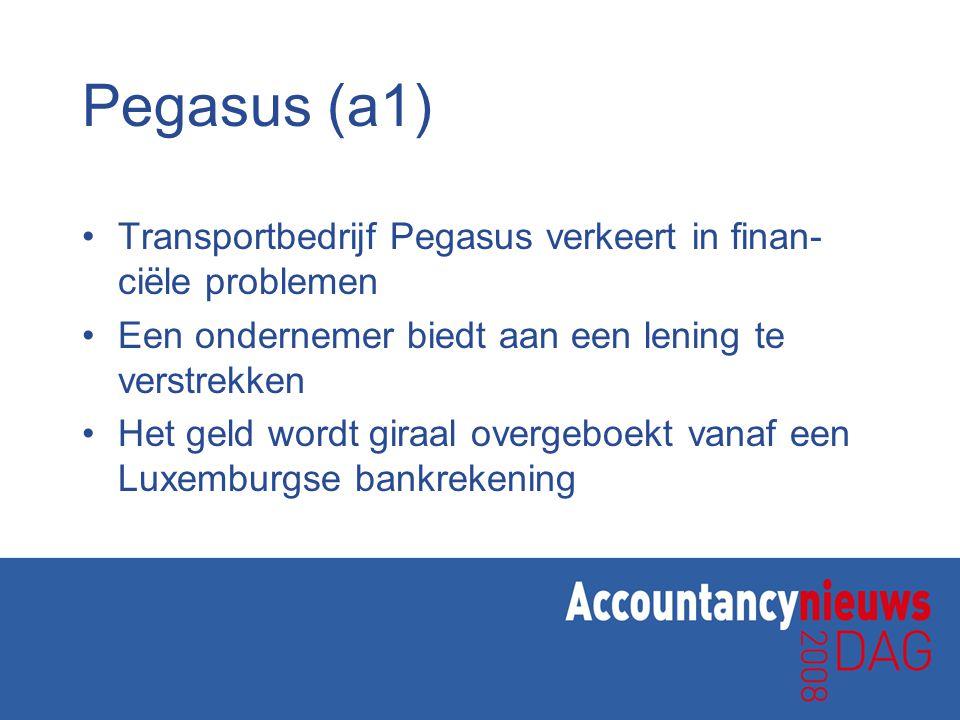 Pegasus (a1) Transportbedrijf Pegasus verkeert in finan- ciële problemen Een ondernemer biedt aan een lening te verstrekken Het geld wordt giraal overgeboekt vanaf een Luxemburgse bankrekening