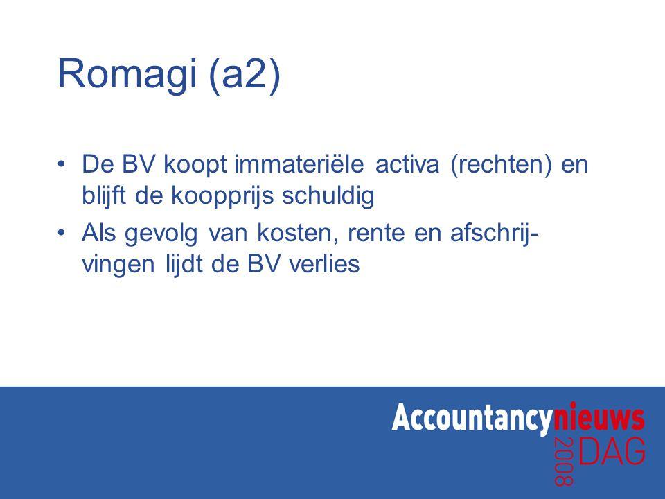 Romagi (a2) De BV koopt immateriële activa (rechten) en blijft de koopprijs schuldig Als gevolg van kosten, rente en afschrij- vingen lijdt de BV verlies