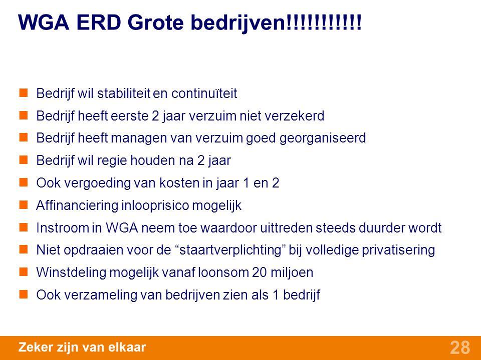 28 WGA ERD Grote bedrijven!!!!!!!!!!! Bedrijf wil stabiliteit en continuïteit Bedrijf heeft eerste 2 jaar verzuim niet verzekerd Bedrijf heeft managen