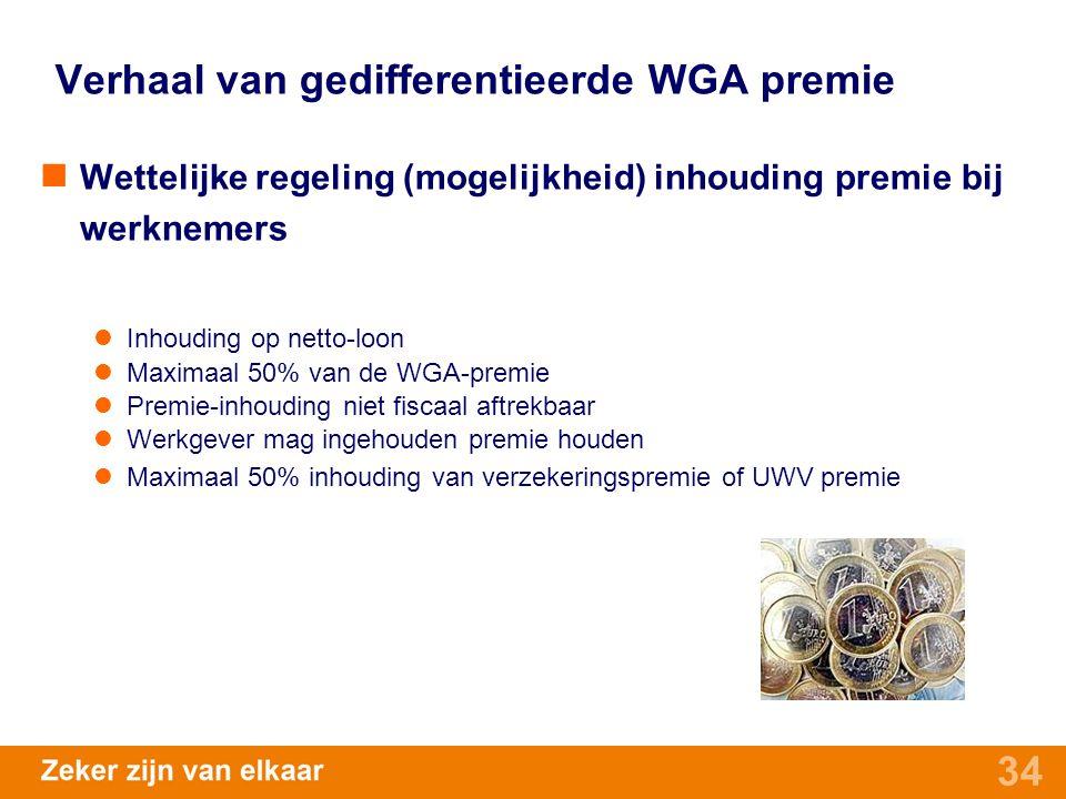 34 Verhaal van gedifferentieerde WGA premie Wettelijke regeling (mogelijkheid) inhouding premie bij werknemers Inhouding op netto-loon Maximaal 50% va